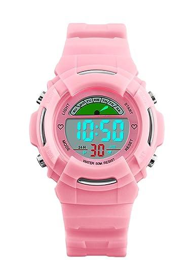 Las niñas de los relojes digitales, niños relojes deportivos con 5 ATM impermeable/alarma