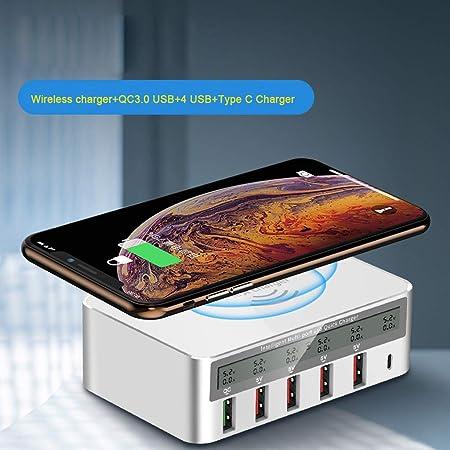 WEISHAZI cargador inalámbrico 7 en 1 tipo C Qi 5 x USB QC 3.0 de carga