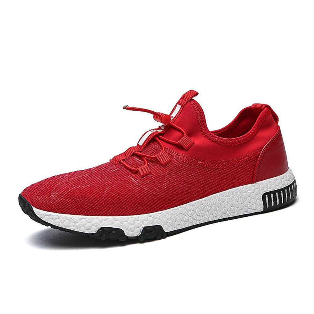 XUEXUE Men's Shoes Knit Spring Fall Lace-up Breathable High-Top Sneakers Light Soles Comfort Running Shoes Outdoor Hiking Shoe Light Soles Athletic Shoes (Color : A, Size : 44)