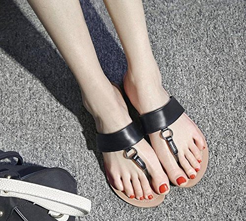 Black Open Toe Beach Flop GLTER Red Slippers Toe Cool Bottom Women Brown Shoes Female Black Leather Shoes Sandals Casual Flip Sw00xEHq