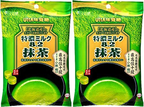 UHA Milk Candy Uji Matcha 81g | Match Milk Flavoured Hard Candy with Creamy Centre | Made in Japan | 2 x 81g Packs by UHA mikakuto