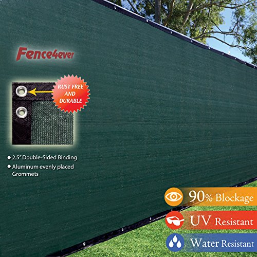 White Vinyl Mesh Tarps (Fence4ever 8'x50' 8ft Tall 3rd Gen Olive Green Fence Privacy Screen Windscreen Shade Cover Mesh Fabric (Aluminum Grommets) Home, Court, or Construction)