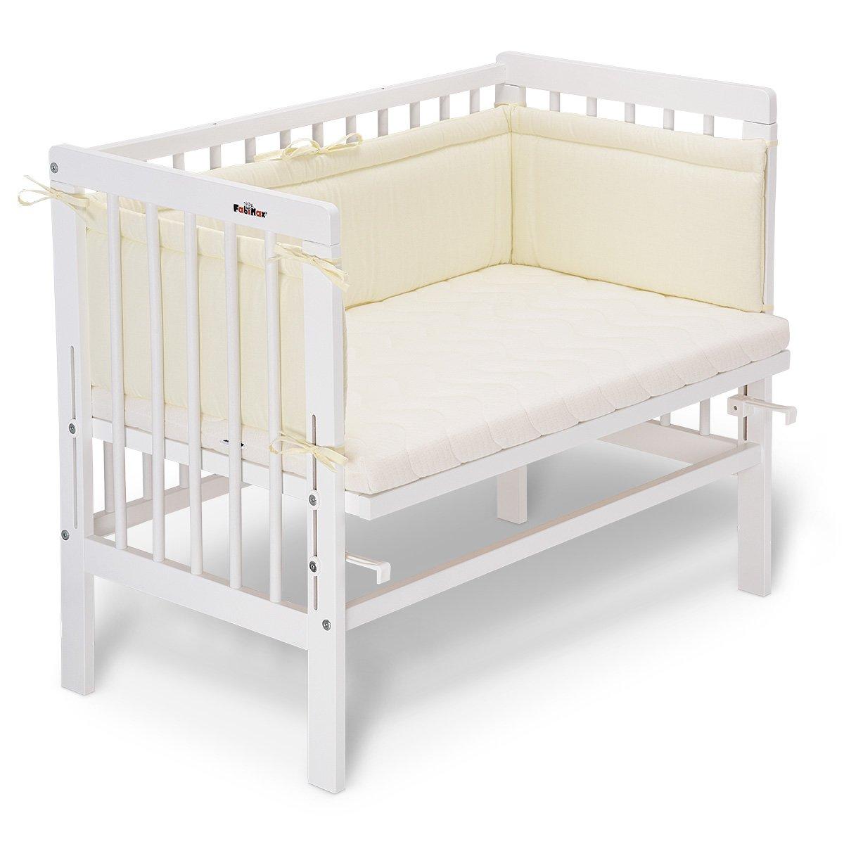 fabimax cama auxiliar Basic Color Blanco, Incluye Colchón y protector de cuna azul 03. Sterne klein/blau Talla:mit Matratze CLASSIC FabiMax GmbH 3894