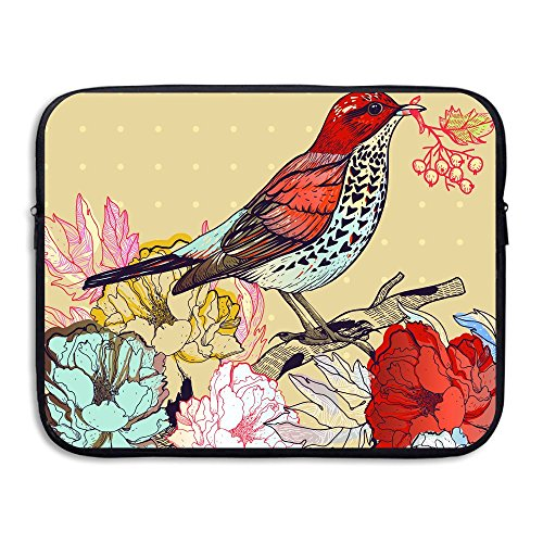 Business Briefcase Sleeve Floral With Birds Laptop Sleeve Case Cover Handbag For 13 Inch Macbook Pro / Macbook Air / Asus / Dell / Lenovo / Hp / Samsung / Sony / Women & Men