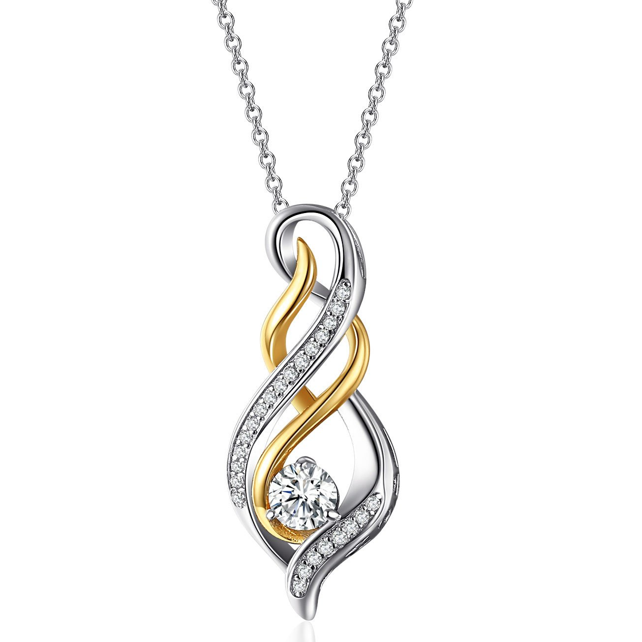 Caperci Sterling Silver Two-Tone Diamond Accent Twist MOM Flame Pendant Necklace for Women, Birthday Gifts for Mom