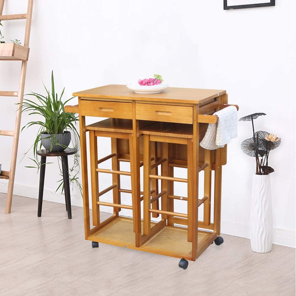 Brown Mobile Kitchen Island Table with Drop Leaf Small Wooden ...
