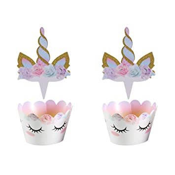 Amosfun Unicorn Cupcake Toppers and Wrappers Kit Unicorn Party Supplies Fiesta de cumpleaños Feliz Decoración de Pasteles 24PCS
