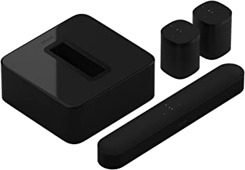Sonos 5.1 Surround Set - Home Theater System with all-new Beam, Sub and a set of two Sonos One Speakers. Compact Smart TV Sound bar with Amazon Alexa voice control built-in. Wireless Sound System and Music Streaming for your home. (Black)