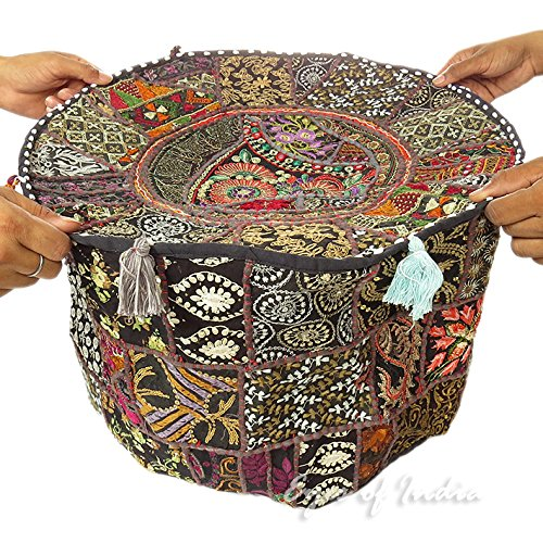 "22"" BLACK ROUND EMBROIDERED PATCHWORK OTTOMAN POUF BOHEMIAN"