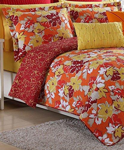 Fiesta Sedona Reversible Quilt Set - Full/Queen - Poppy Red - with 2 Pillow - Bedding Set Sedona