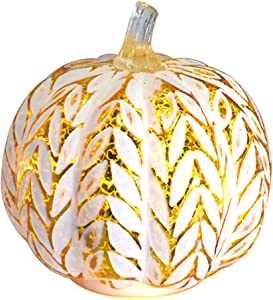 Fall Decor Glass Pumpkins, Halloween Candles LED Fall Decorations, Glass Pumpkins Decorations Made of Mercury, Lanterns Decorative Battery Operated(New Silver)