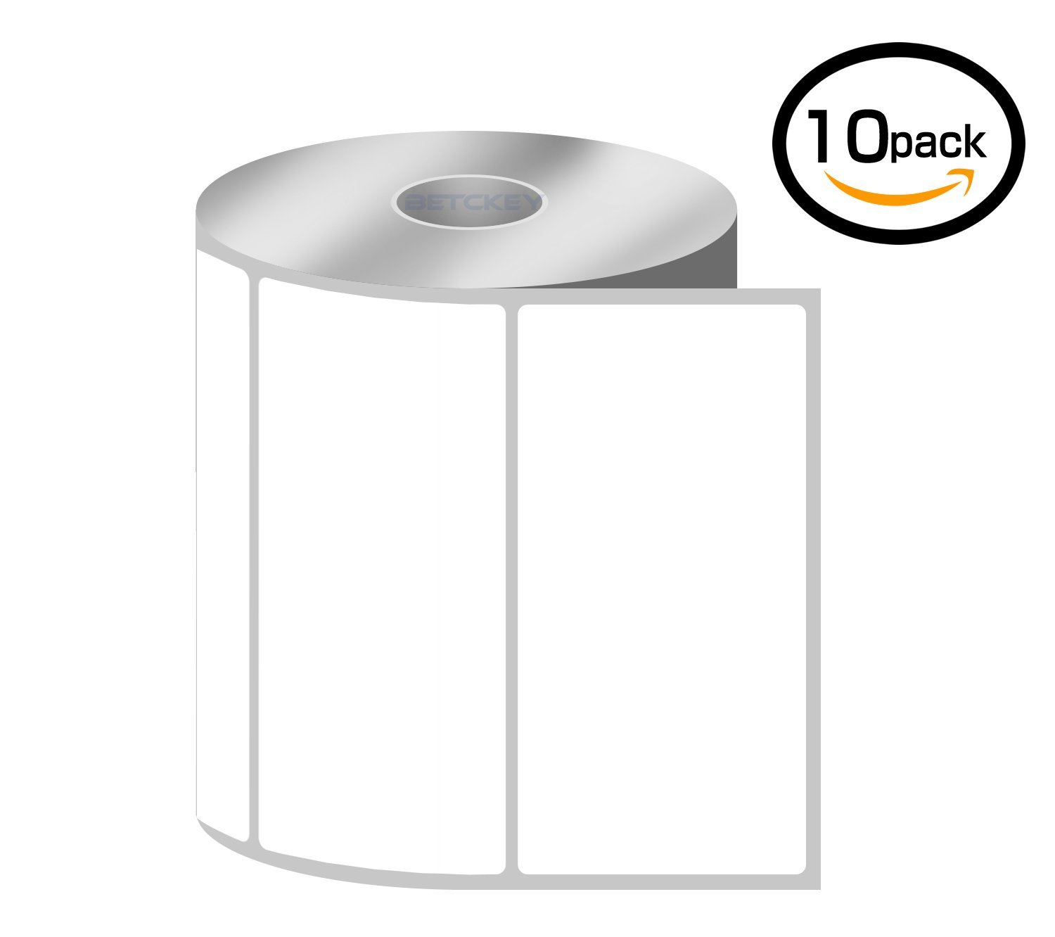 [10 Rolls, 750/Roll] 4'' x 2'' Direct Thermal Zebra/Eltron Compatible Labels - Premium Resolution & Adhesive by BETCKEY (Image #1)
