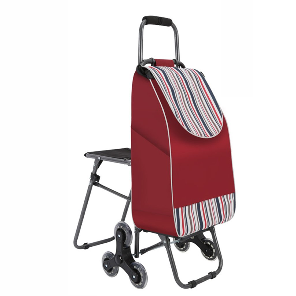 J-JIAショッピングキャリー 折り畳み式ショッピングトローリー軽量階段旅行用食料品カートトロリー6 PUホイールプルカートシート(耐久性のあるストライプ)オックスフォードクロス漏れ防止バッフルコンドミニアムへの申込み (色 : Red)  Red B07F823Q5J