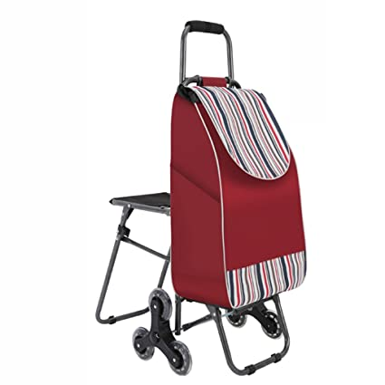 Carritos de la compra Escalera Ligera Plegable Carro de Viaje Carro de supermercado 6 Ruedas de