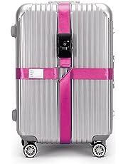 CSTOM® (Rosa) Correa Extensible Apta TSA con Candado de 3 Diales para Maletines