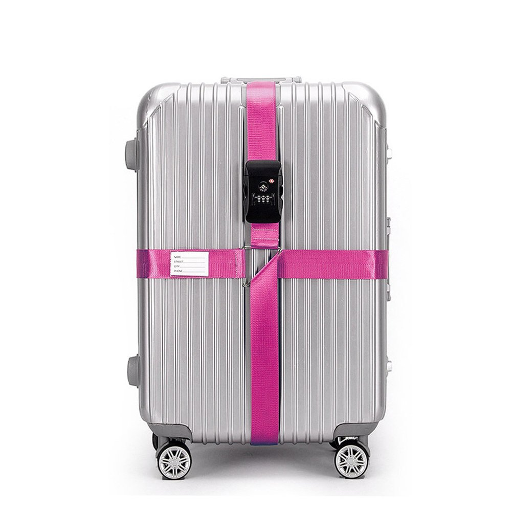 BlueCosto Pink TSA Approved Lock Cross Luggage Strap Suitcase Belt Travel Accessories