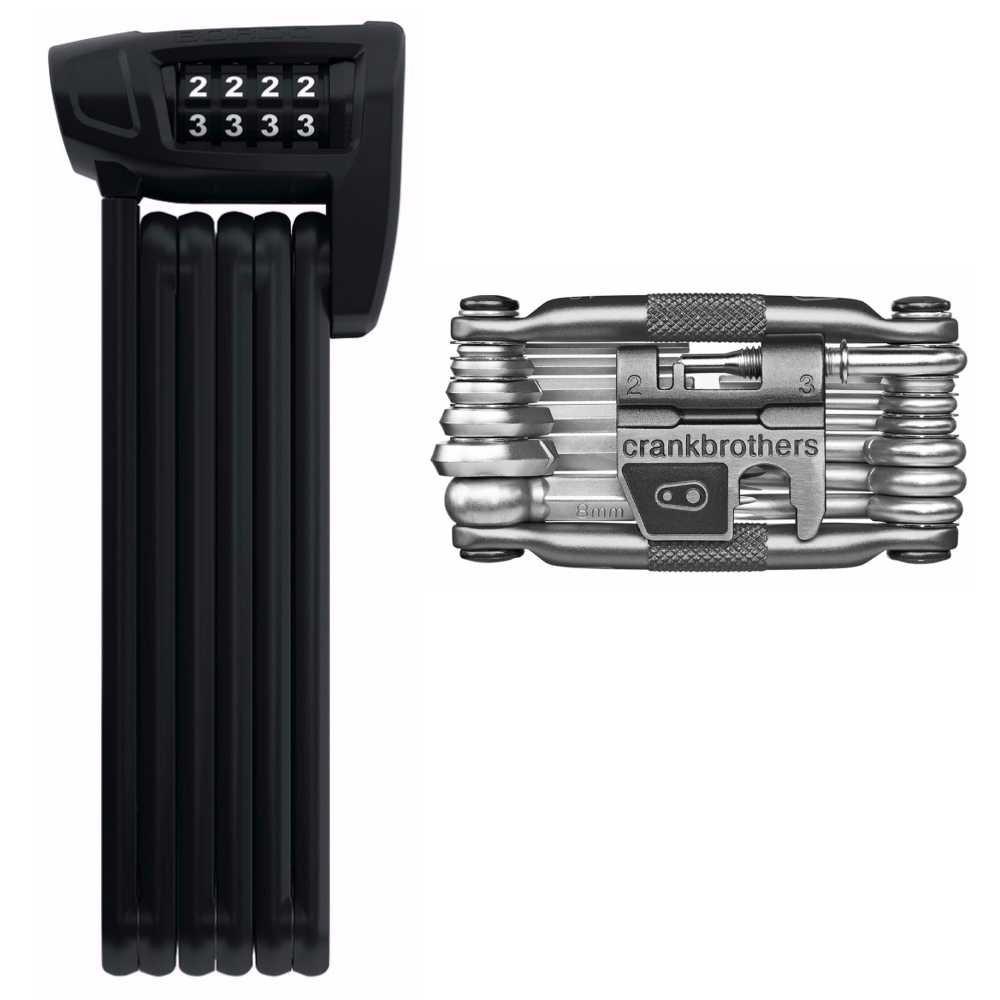 Abus Bordo Lite 6100 Foldable Combo Lock - 85cm and Crank Brothers M19 Multi Bicycle Tool Kit