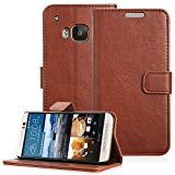 Fosmon® HTC One M9 Wallet Case - CADDY-VINTAGE (PU) Leather Multipurpose Wallet Stand Case for HTC One M9 / Hima (Brown)