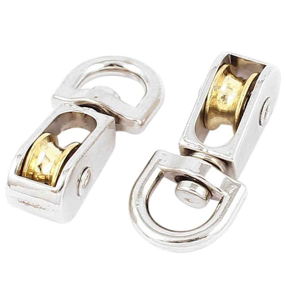 SODIAL(R) 2-Piece 12mm Diameter metal Single Sheave Fixed Eye Rope Pulley - Silver