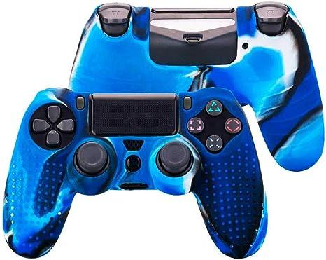 OcioDual Funda de Silicona Carcasa para Mando Sony PS4 PlayStation 4 Slim Pro Dualshock 4 Tricolor Azul: Amazon.es: Videojuegos