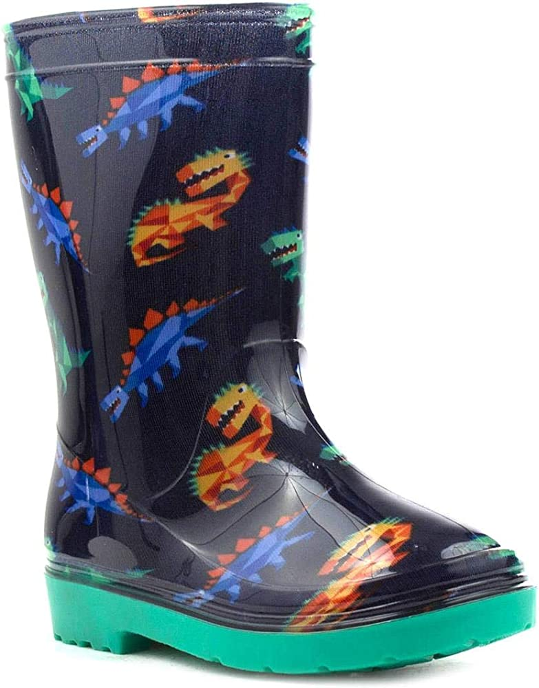 NEW BOYS BABY NAVY WELLINGTON BOOTS RAIN WATERPROOF DINO INSOLE WELLIES SHOES UK