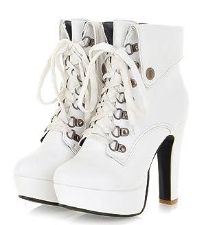 IDIFU Women's Sexy Chunky High Heel Lace Up Martin Ankle Boots White 6.5 B(M) US