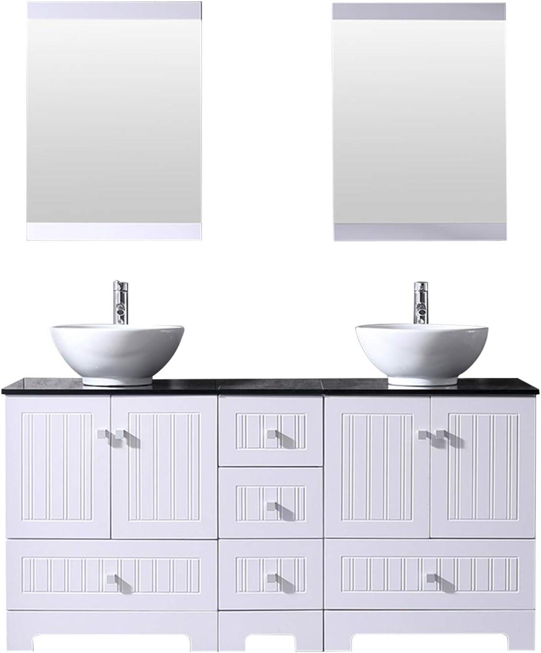 Sliverylake 60 Bathroom Vanity Ceramic Vessel Sink Combo Pvc Cover Cabinet Black Countertop Sink Bowl W Mirror Set White Bowl Amazon Com