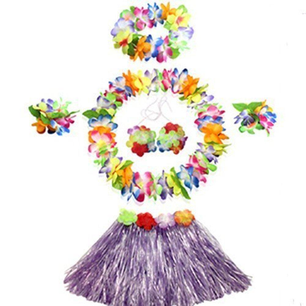 WISDOMTOY 6- piece Holiday Christmas Party Costumes Hawaiian Hula Grass Skirt Dance Wears Clothing Set, Purple
