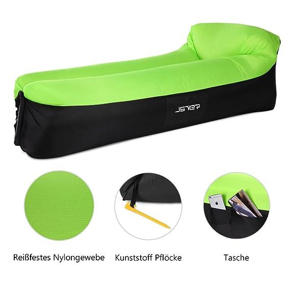 JSVER Sofá Inflable Aire del ocioso con el Paquete Portable para Viajar, Acampar, Senderismo, Piscina y Partidos de la Playa, Negro & Verde: Amazon.es: ...