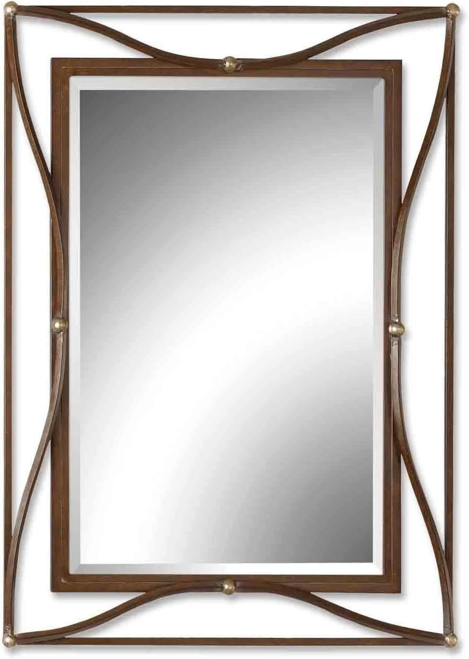 Uttermost 11547 B Thierry Beveled Mirror With Iron Frame, Scratched Bronze With Champagne Silver Leaf