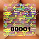 """70 Transparent Square Stickers Protective Security Holograms """"Seal and Protect"""" Tamper Evident With Serial Numbers 1"""" x 1"""" (25 x 25 mm)"""