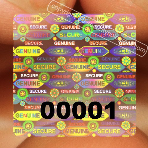 70 Transparent Square Stickers Protective Security Hologr...