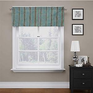 "carmaxs Window Valences Curtains Wood Print Scalloped Window Treatment Old Fashioned Weathered Rustic Planks Summer Cottage Beach Coastal Theme 42"" x 18"" Pale Blue Tan"