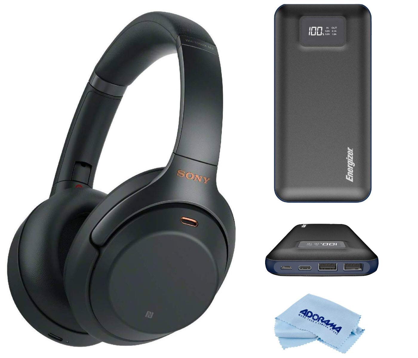 Sony WH-1000XM3 Wireless Bluetooth Noise-Canceling Over-The-Ear Headphones with Mic and Alexa Voice Control, Black, Bundle with Energizer 20000mAh LCD Display Portable Power Bank, Cloth