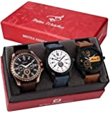 Britex Round Shape Multicolor Dial Analog Watch For Men/Boys (Combo Pack of 3) - (BT3106+6126+6136)