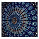 Blue Tapestry Wall Hanging Mandala Tapestries Indian Cotton Bedspread Picnic Bedsheet Blanket Wall Art Hippie Tapestry