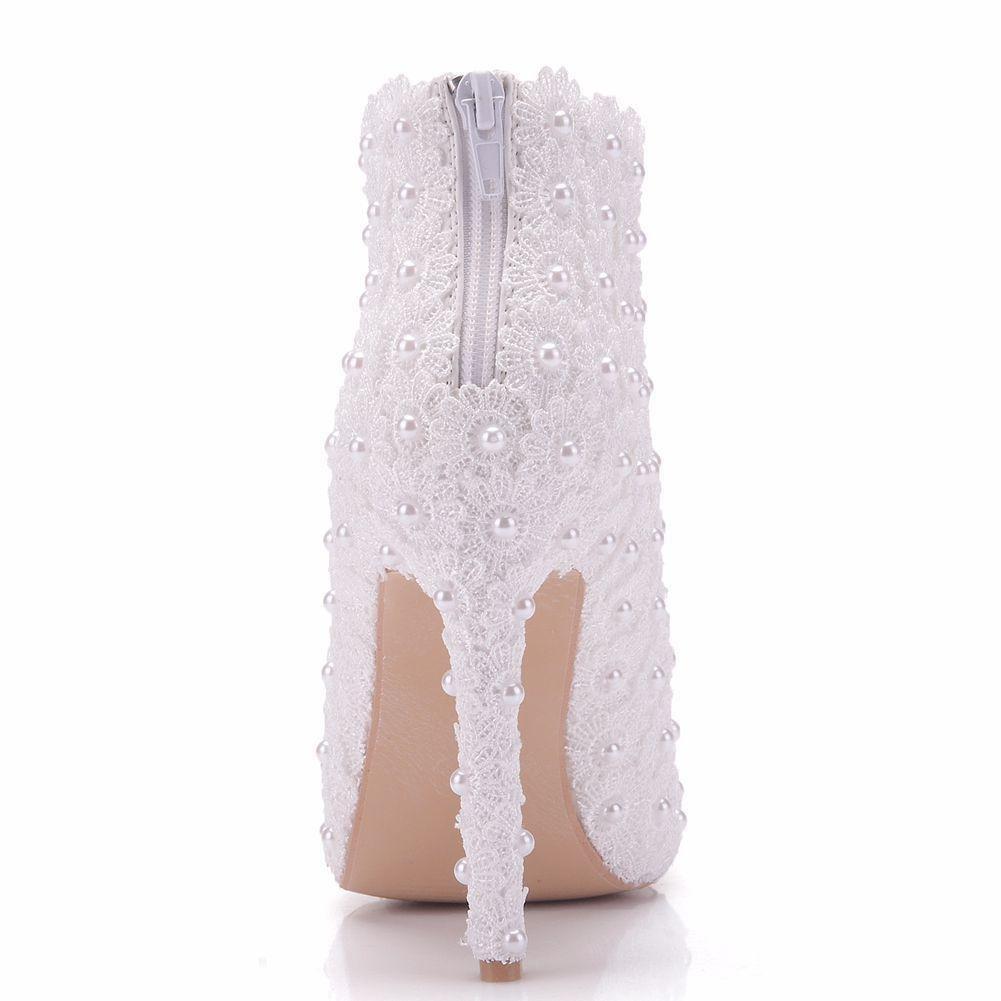 Hochzeit Braut Braut Hochzeit Schuhe Damen Weiß Stiefel Kleid Spitz Hoch Hacke Abend Frühling Herbst Größe 35-41 Weiß 4fbdba
