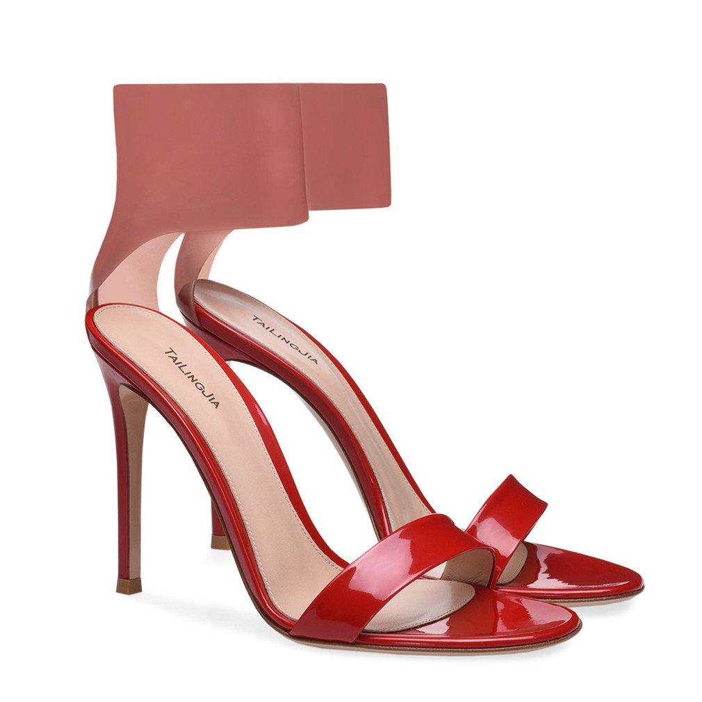 LUCKY CLOVER-A High Heels Sandalen Frauen Braut Damen Mädchen Design Modern Design Mädchen Schnalle Klassische Court Schuhe Stiletto Pumps, EU46,ROT,EU45 - b5b967