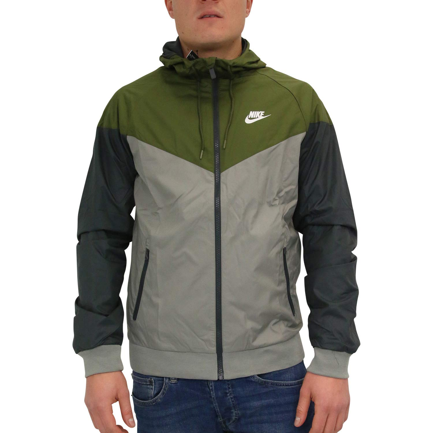 Galleon - Nike Mens Windrunner Hooded Track Jacket Olive Canvas Dark Stucco White  727324-395 Size Small 13f4507a0