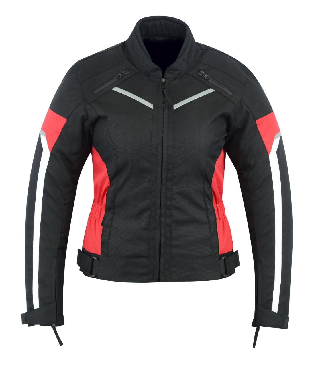 WOMENS MOTORCYCLE ARMORED HIGH PROTECTION WITH ARMOR MESH WATERPROOF ALL WEATHERS JACKET BLACK/RED WJ-1834R (XL)