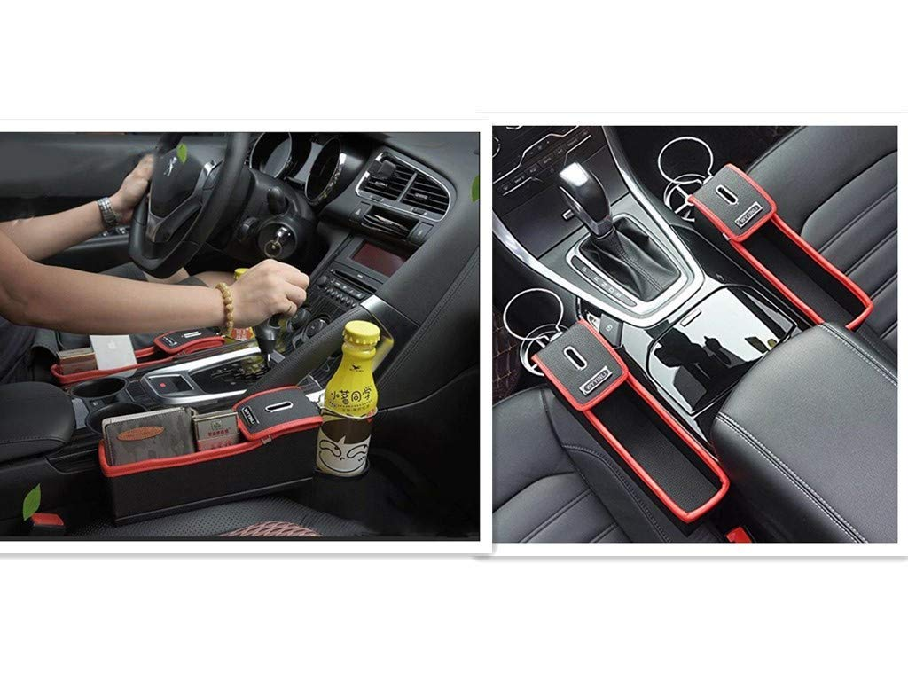 Car Seat Gap Storage Box Cup Holder Multifunctional Car Seat Gap Filler Premium PU Leather Car Console Side Pockets 2pcs, Beige, Left+Right