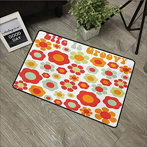 Restaurant mat W16 x L24 INCH Groovy,Life is Goofy Petals of Retro Colors Old Fashioned Style Revival Art,Mint Green Red Orange Non-Slip, with Non-Slip Backing,Non-Slip Door Mat Carpet