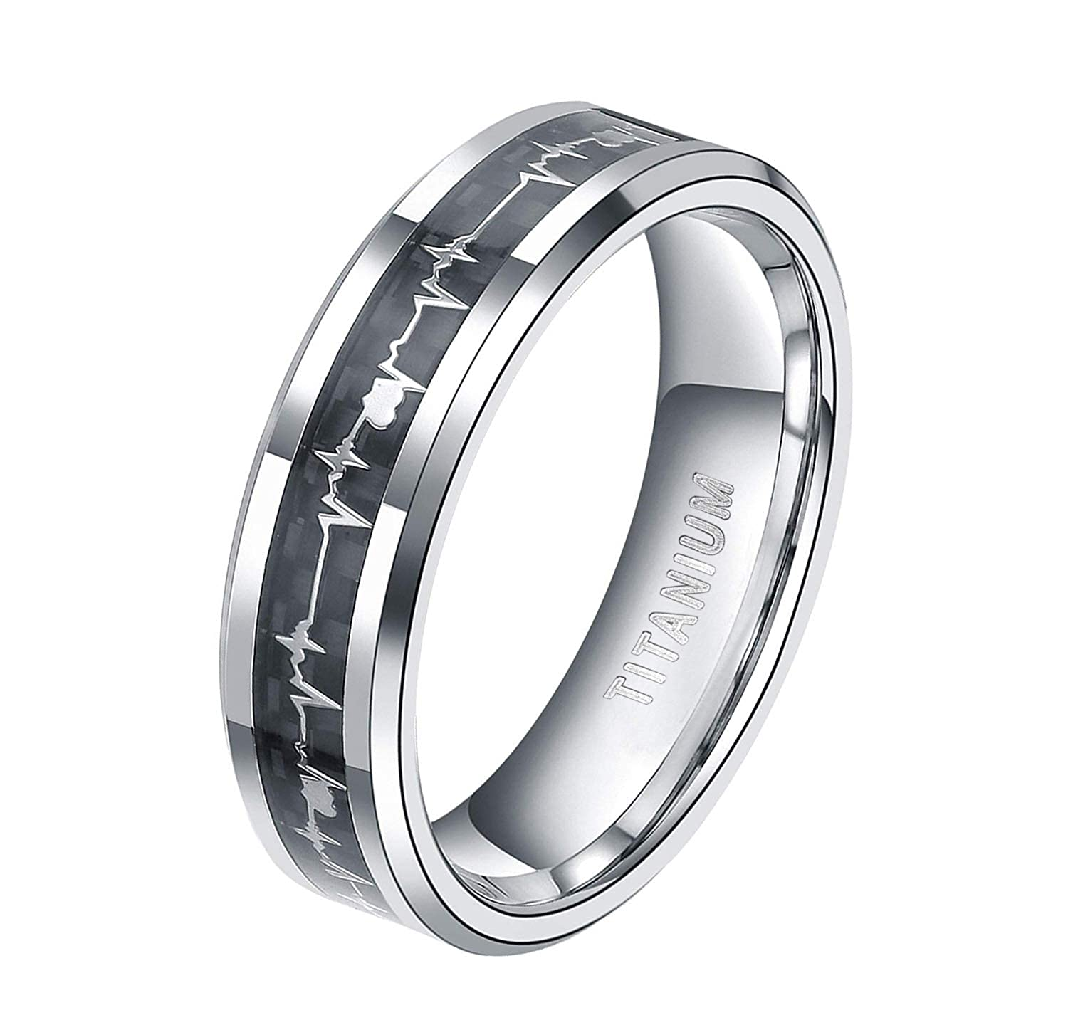 91b09113b61d6 Titanium Rings Heartbeat Black Carbon Fiber Wedding Bands