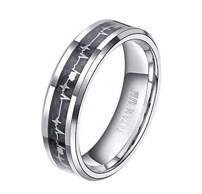 e5c8df2bd TIGRADE 6mm Titanium Rings Heartbeat Cardiogram Black Carbon Fiber  Engagement Wedding Band Size 4