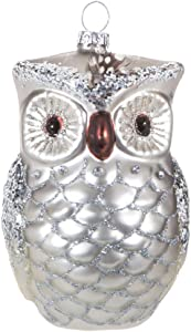 Robert Stanley Silver Glittered Glass Owl Ornament, Woodland Christmas Holiday Collection