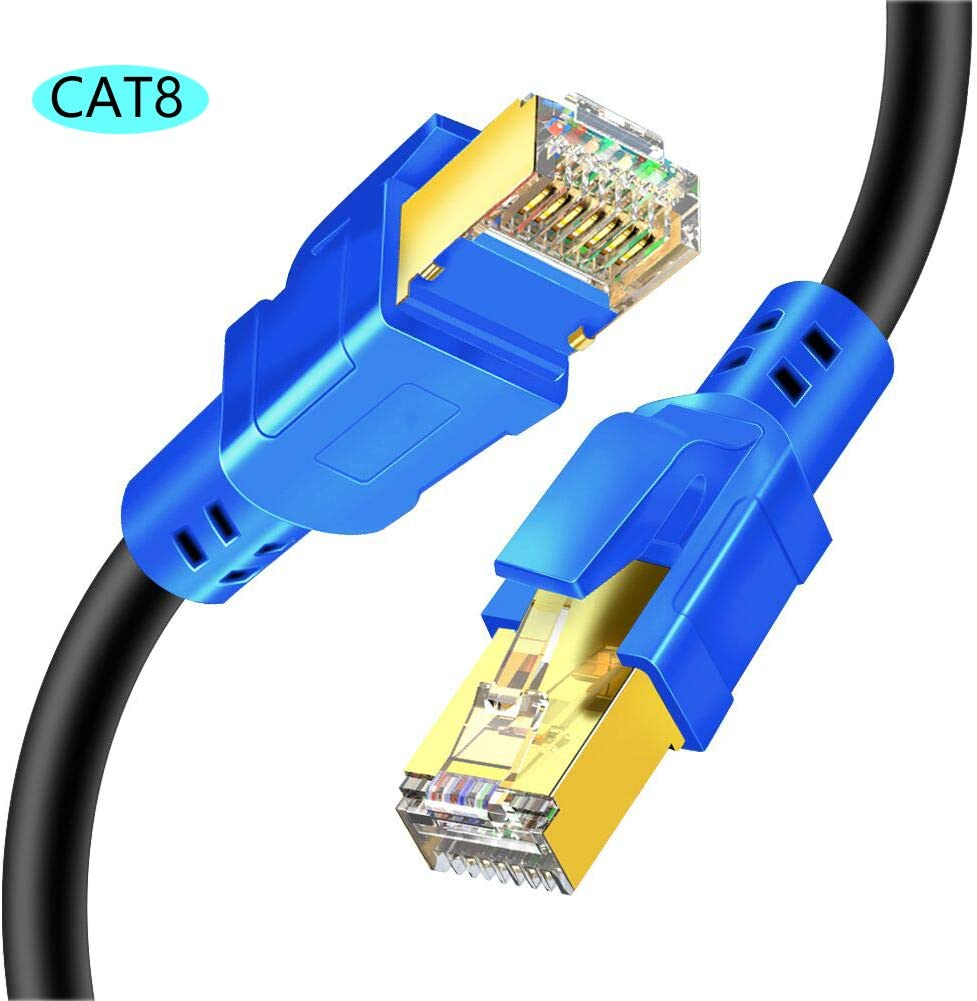 Cat8 Ethernet Cable, SAYTAY High Speed 26AWG 40Gbps 2000MHz Cat8 LAN Network Wire Cable with Gold Plated RJ45 Connector for Router, Modem, Switches, Laptop, PC, Gaming (3.3FT/1M)
