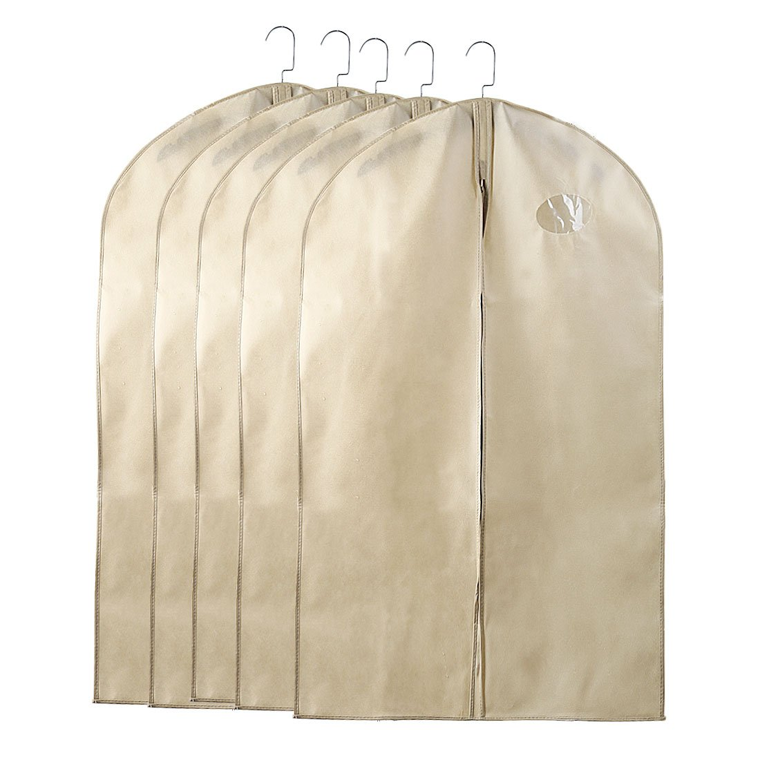 uxcell Pack of 5 Full Zipper Suit Bags, 40-Inch Breathable Garment Bags for Storage or Travel,Khaki Foldable Storage bags With Clear Window & Metal Eyehole for Luggage, Dresses, Linens