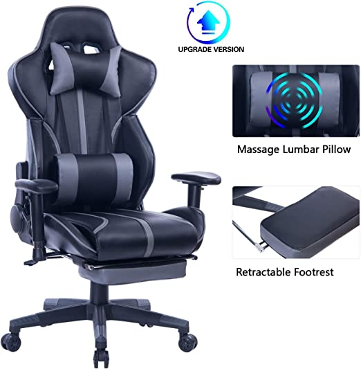 Gaming Chair with Retractable Footrest - Best Quality Material
