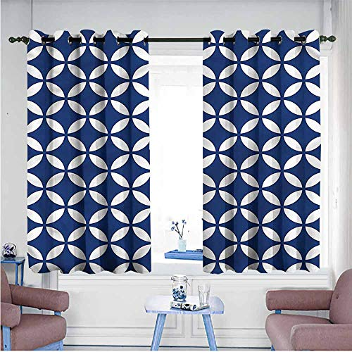 Mdxizc Polyester Curtain Navy Old Rounds Oval Figures Bedroom Blackout Curtains W63 xL72 Suitable for Bedroom,Living,Room,Study, etc.