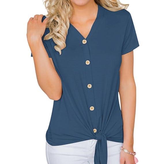 Manga Corta para Mujer Camiseta de Moda con Cuello en V Blusa de Color Puro Blusa